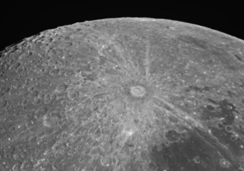 The craters along the uppermost limb, or the very upper edge, are candidate targets for the LCROSS impact in this image of the moon's south pole. The bright, rayed crater that dominates the center of this picture is Tycho. Adam Block of UA's Mount Lemmon