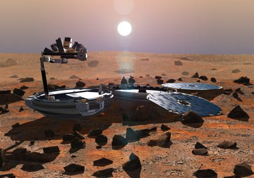 Upon landing, Beagle 2 was designed to unfold like a pocket watch into its main components, a petal-like array of solar panels and a robotic arm bristling with scientific instruments.