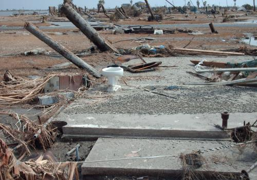 A photo taken on Sept. 18, 2008, shows damage on the Bolivar Peninsula of Texas from Hurricane Ike.