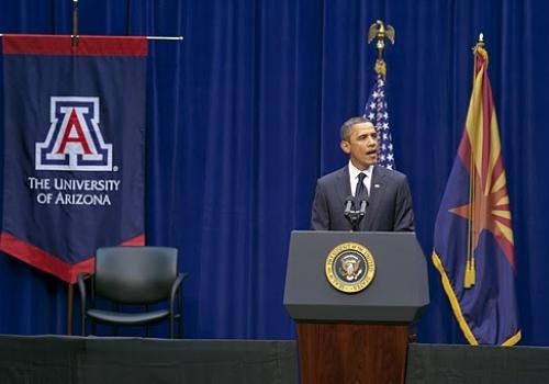 U.S. President Barack Obama speaks on the UA campus in McKale Memorial Center.