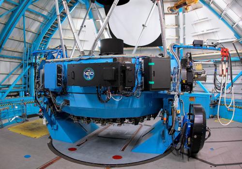 The NEID fiber feed mounted on the WIYN telescope.