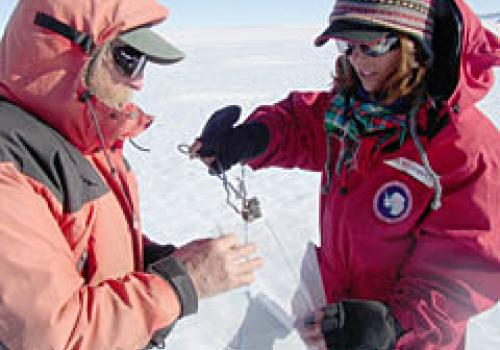 Julia Goreva  and a colleague demonstrate proper meteorite collecting technique by using tongs to place meteorites in sterile plastic collecting bags. .