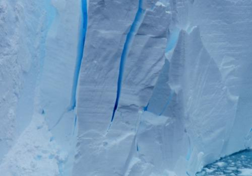 This view of the seaward edge of Antarctica's floating Ross Ice Shelf shows a region where the ice is cracking and may produce an iceberg.
