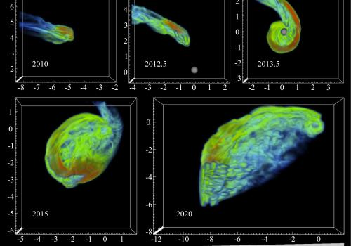 Astronomers hope to watch as the black hole at the center of our Milky Way rips apart a mysterious cloud composed primarily of hydrogen gas sometime around July 2013. The image shows a computer simulation predicting how the cloud changes over time.