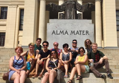 UA Cuba study abroad students at the University of La Habana with Marcela Vasquez-Leon, director of the UA Center for Latin America Studies.