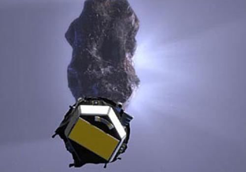 Deep Impact Encounter - Artist's concept showing impactor spacecraft approaching comet Tempel 1.