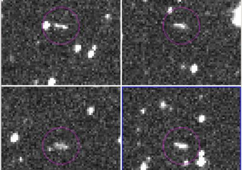 2018 AL, the 6-foot space rock that exploded over or near Botswana on June 2, made its first appearance as a fuzzy streak in this discovery image taken by the Catalina Sky Survey's 60-inch telescope on Mt. Lemmon, just north of Tucson.