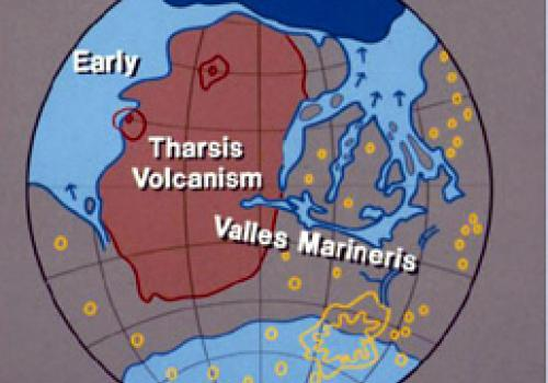 This illustration shows the location of theTharsis volcanic region and Valles Marineris in the context of the hypothesized larger, ancient ocean and smaller, more recent ocean in Mars' northern lowland planes. Victor Baker and others have long argued that