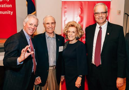 From left: UA President Robert C. Robbins, Karl and Stevie Eller, and Paulo Goes, dean of the UA Eller College of Management