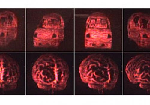 Views of an automobile  and of a human brain  from the updatable 3-D holographic display developed at The University of Arizona College of Optical Sciences in collaboration with Nitto Denko Technical Corp., Oceanside, Calif. The 3-D images were recorded o