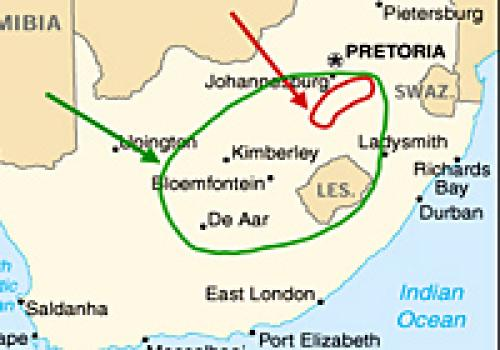 The Witwatersrand gold fields lie within the red circle, at the tip of the red arrow, and the Kaapvaal craton lies within the green circle, at the tip of the green arrow, on this map.