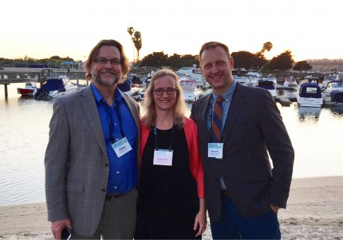 Members of the School of Information leadership team attended the iConference in Newport Beach, California, in March. From left: Bryan Heidorn, School of Information director; Catherine Brooks, School of Information director of undergraduate studies; and