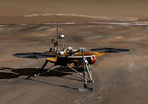 In this artist's rendition, the Phoenix lander is shown on the arctic plains of Mars just as it has begun to dig a trench through the upper soil layer. The polar water ice cap is shown in the far distance.