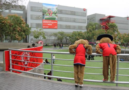 Wilbur and Wilma check out the UA Lima's designated space at the UPC in Lima, Peru.