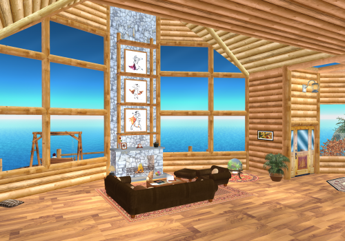 Researchers used the virtual reality platform Second Life to create a tranquil seaside living-room space where support groups could gather.