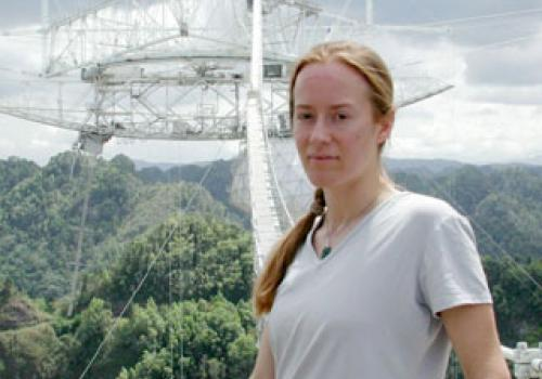Margaret Turnbull at the Arecibo radio telescope used in the search for extraterrestrial intelligence. Photograph by Seth Shostak, SETI Institute, 2001.