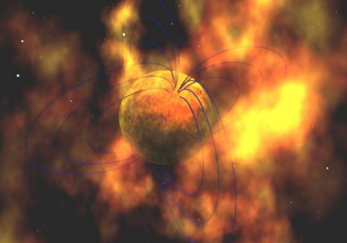 This is an artistic illustration of a magnetar.