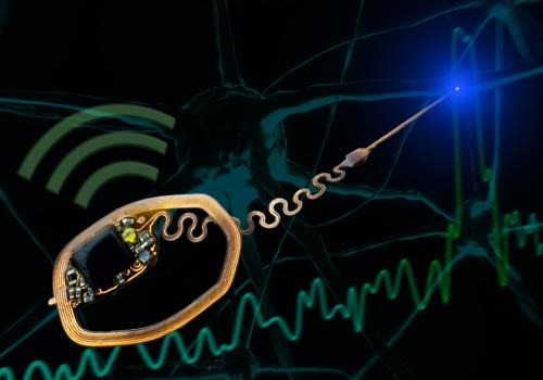 The device uses light to record individual neurons.