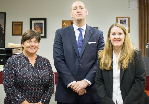 Angela Menard  and Lori Lewis  teach and supervise students such as Jonathan Rich  as they gain real-world experience through the Veterans' Advocacy Law Clinic and Veterans Court.