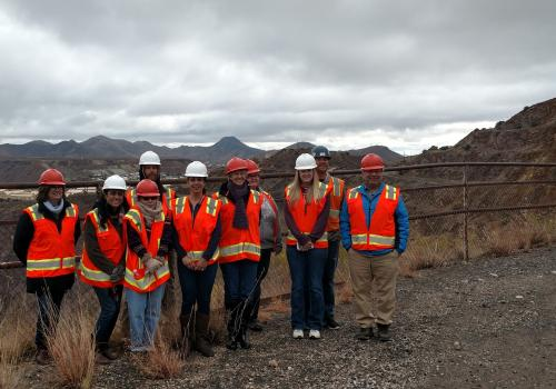College of Education students and faculty members and local STEM teachers at a reclamation site owned by the Freeport-McMoRan mining company. The site will become one of two STEM learning field stations in Cochise County as part of the Noyce Border Fellow