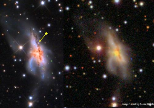 Adam Block spotted the supernova  when he compared his image of the galaxy to others that were taken before the star exploded.