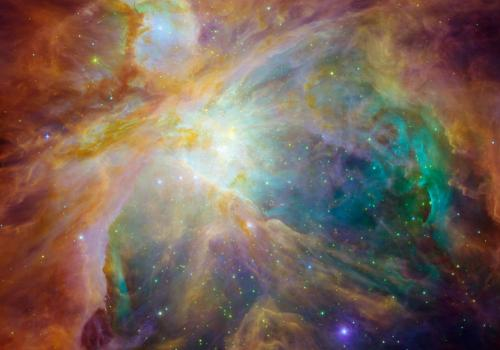 Spitzer's retirement brings to a close an era of not only scientific breakthroughs, but also some of the most visually stunning wallpapers gracing screens worldwide. Here, we see baby stars 1,500 light-years away in the cosmic cloud of the Orion Nebula, a