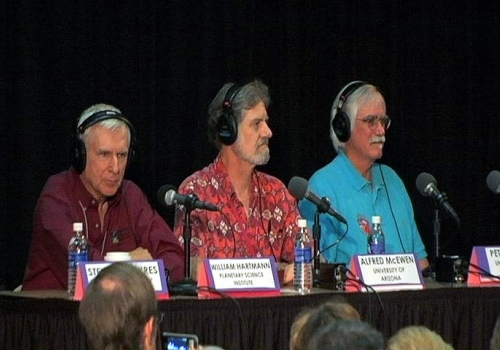 """William Hartmann, Alfred McEwen and Peter Smith  were panelists for National Public Radio's """"Science Friday"""" broadcast live from the Phoenix Science Operations Center in September. Hartmann, an expert on Mars, is with the Tucson-based Planetary Science In"""