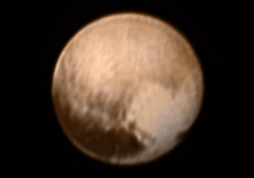 This image, released on July 8, shows how New Horizons saw Pluto on the previous day, when the probe was less than 5 million miles from the dwarf planet.