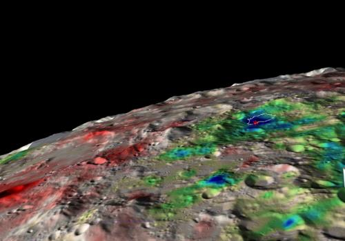 The white contour surrounds the largest permanently shadowed region in the Cabeus crater, with the red asterisk marking the location of the LCROSS-Centaur impact. The colors indicate how much water is present in the soil, ranging from dry  over intermedi