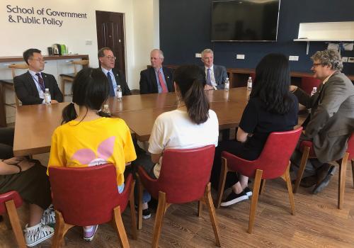 UA President Robert C. Robbins visits a UA classroom at Ocean University of China in June 2019.