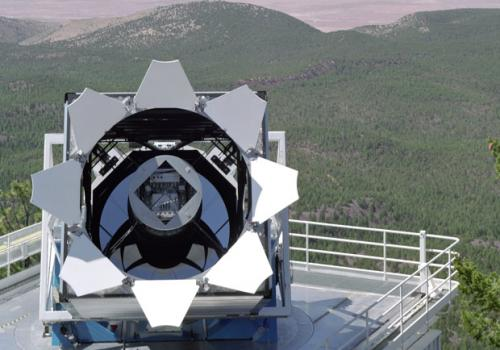 The 2.5-meter Sloan Foundation Telescope operates at Apache Point Observatory in New Mexico.