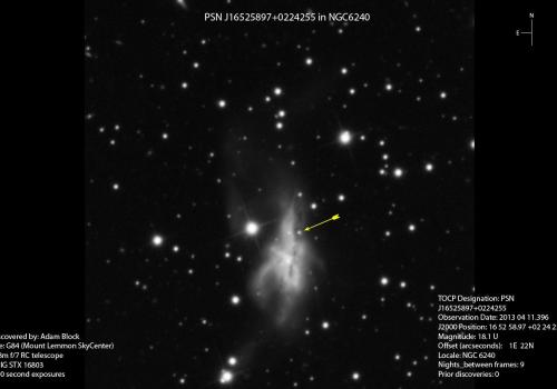 Adam Block's original discovery image shows the supernova as a tiny blip .