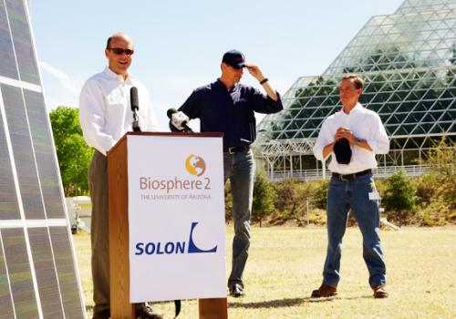 Left to right, Biosphere 2 director Travis Huxman, SOLON Corp. president and CEO Olaf Koester and SOLON Corp. research and development officer Bill Richardson announced SOLON's gift of almost 500 solar panels to Biosphere 2 on March 18. The panels will be