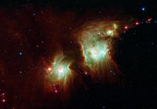 The molecule known as H3+ is believed to have had a vital role in cooling down the first stars of the universe, and may still play an important part in the formation of current stars. Above, new stars burst into being in the star-forming nebula Messier 78