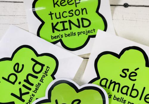 Stickers promoting kindness are among a variety of merchandise sold through Ben's Bells.
