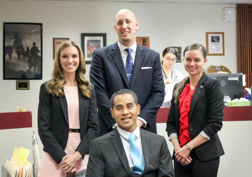 On Nov. 1, UA law students  Kristina Rood, Jonathan Rich, Zoey Kotzambasis and Erick Hernandez participated in Veterans Court, where they watched several of their clients graduate from the program.
