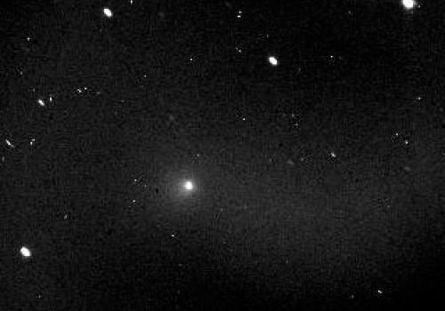 This image of comet Temple 1 was taken at the Steward Observatory 21-inch Telescope on 8 June 2005 at 9:45pm MST.  Exposure time is 180 seconds through an Orion Light Pollution Reduction filter.
