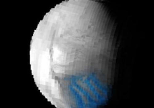 Saturn's tiny moon Enceladus is crossed by a set of distinctive features that actively vent water vapor and icy powder-sized particles to space, Cassini scientists discovered from data taken during the July 14 flyby. Cassini's visual and infrare