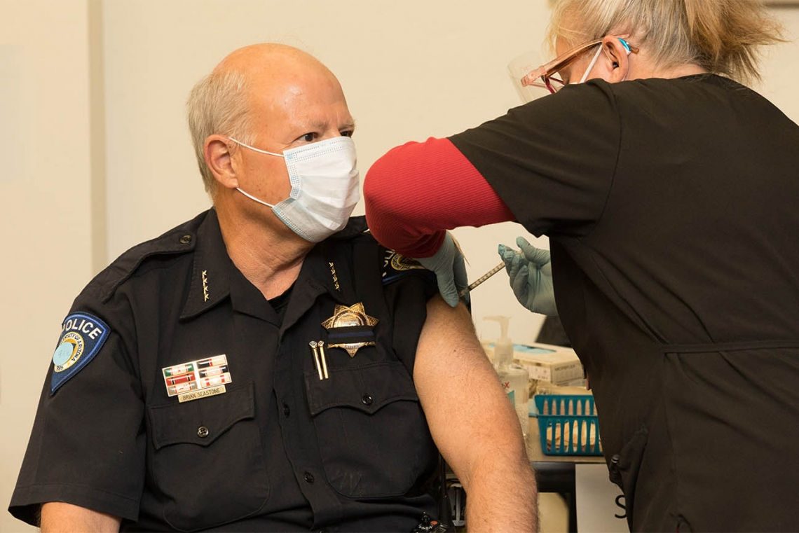 University of Arizona Police Chief Brian Seastone gets vaccinated at Campus Health.