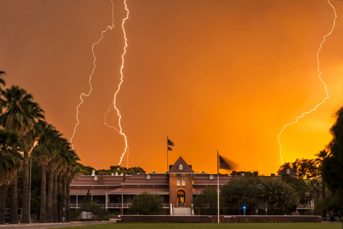 Lightning in the sky over a building