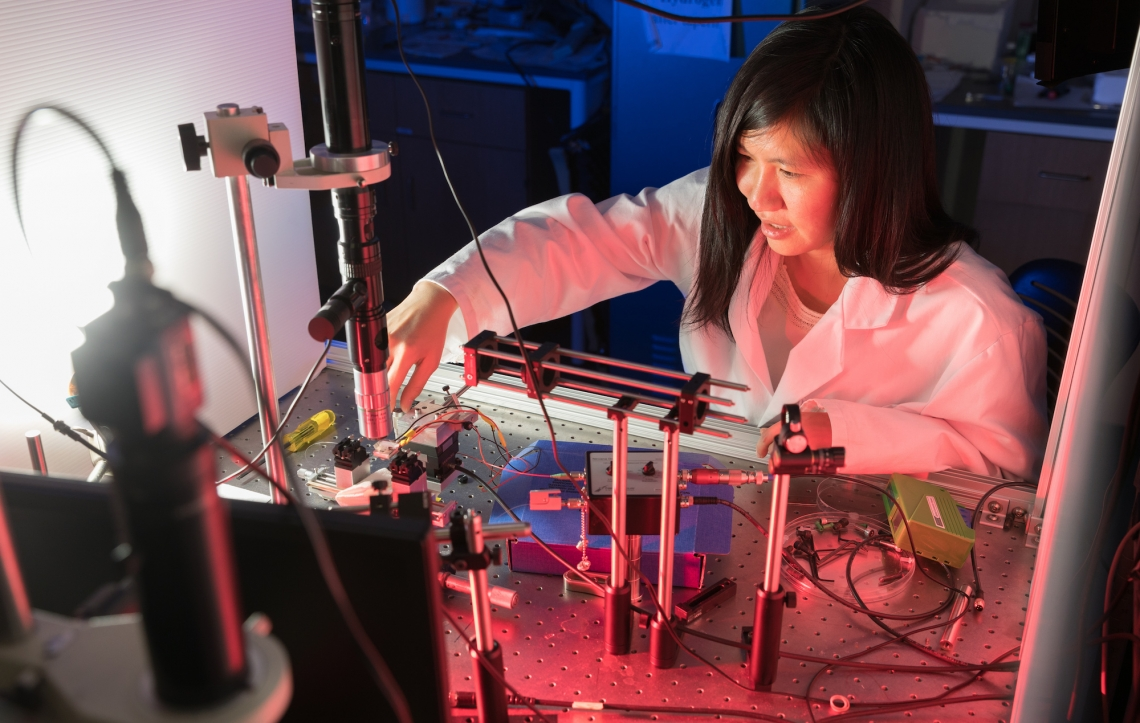 Judith Su working with sensors