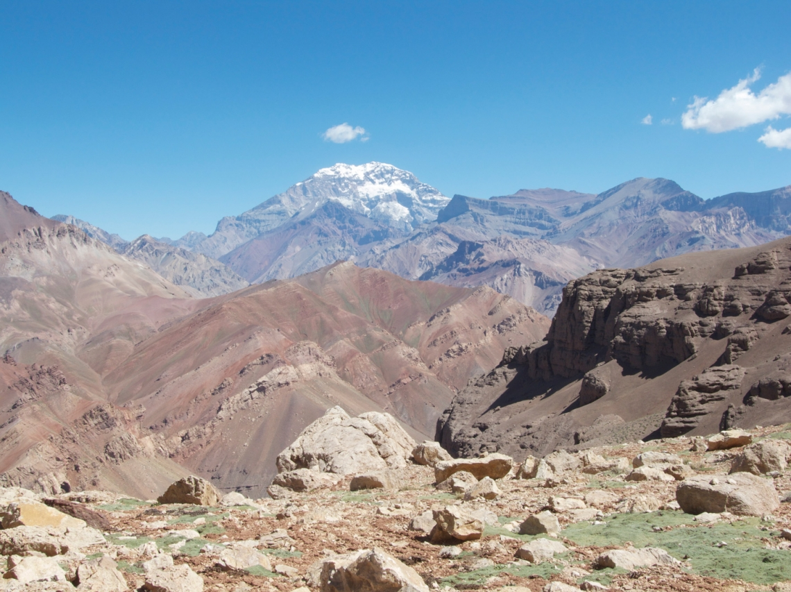 Andean Mountain range in Argentina showing the snow-capped peak of Aconcagua