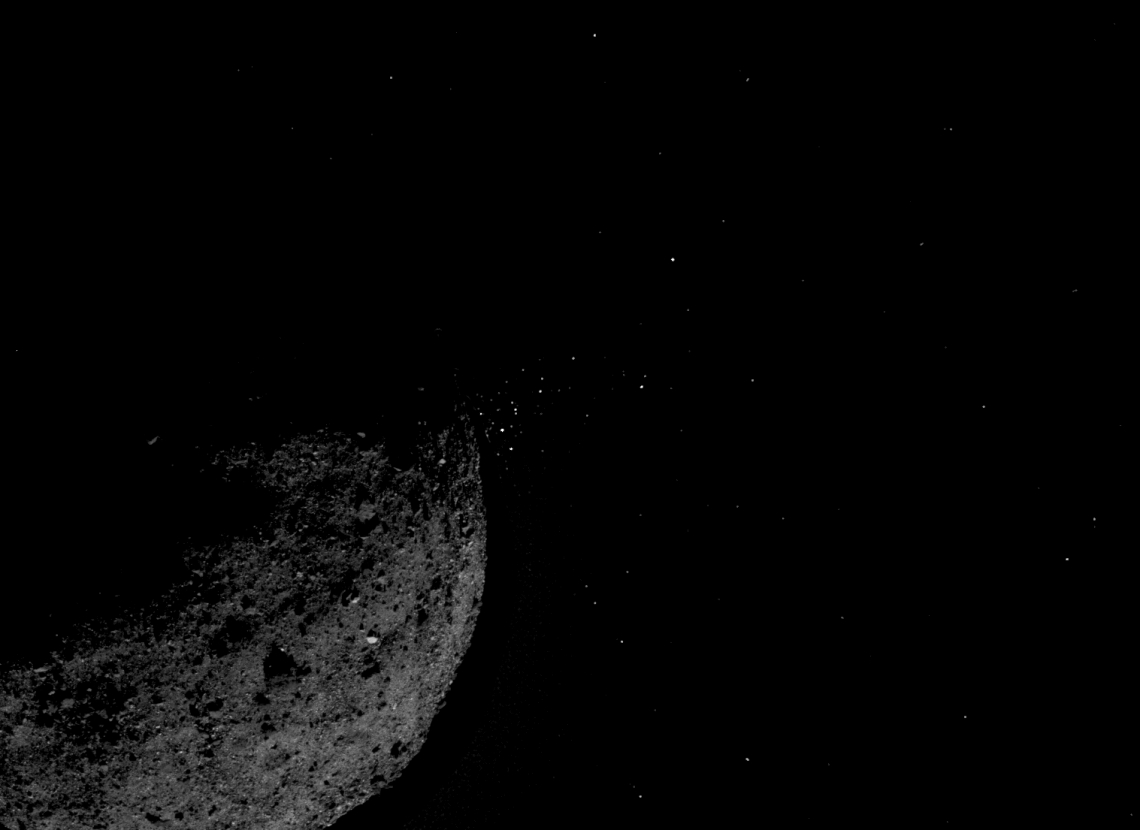 Asteroid Bennu ejecting particles