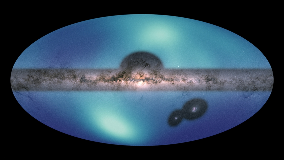 Images of the Milky Way and the Large Magellanic Cloud (LMC) are overlaid on a map of the surrounding galactic halo.
