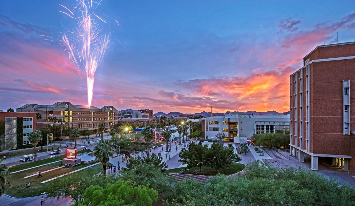 University of Arizona campus with fireworks in background