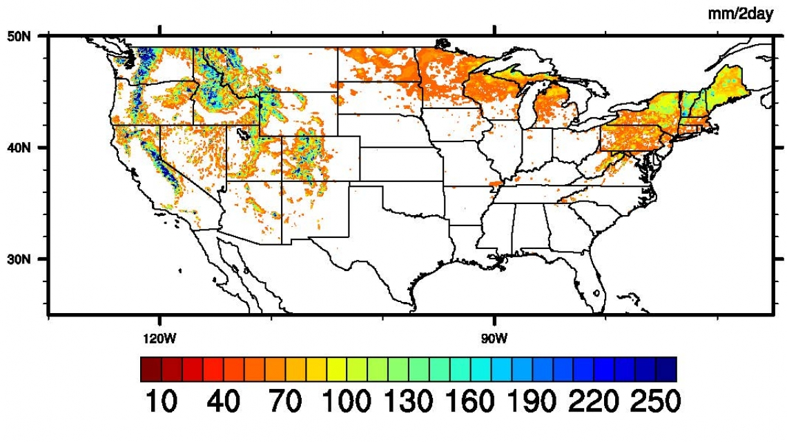 Map of the United States color coded to indicate extreme snow melt.
