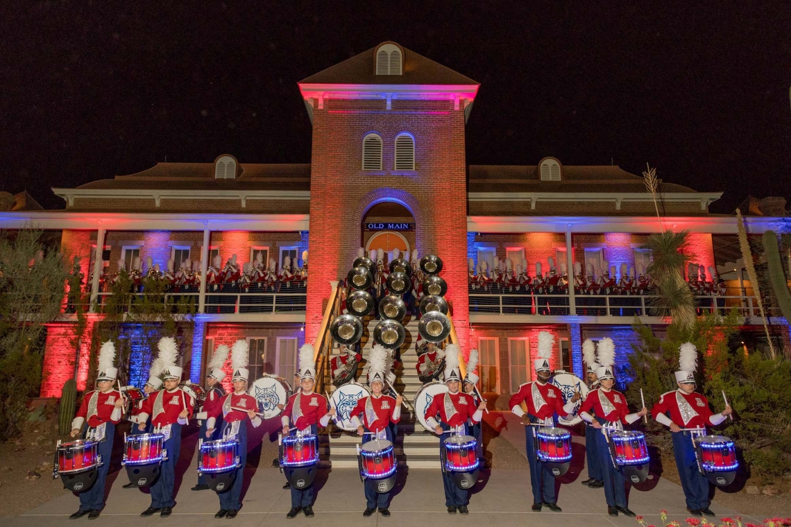 The Pride of Arizona marching band performing at Old Main