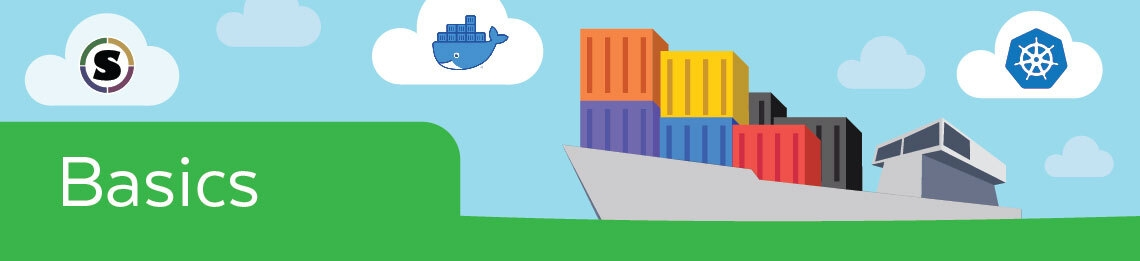 """A graphic showing a container ship with the text """"Basics"""" and institutional logos."""