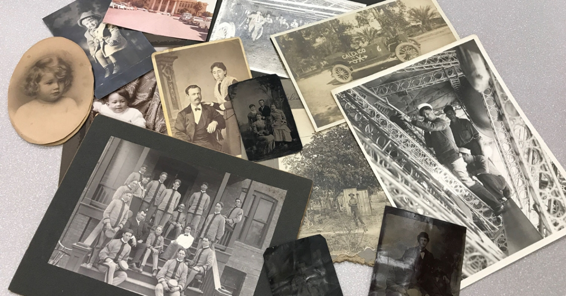 A collection of family photos from different time periods and in various conditions.