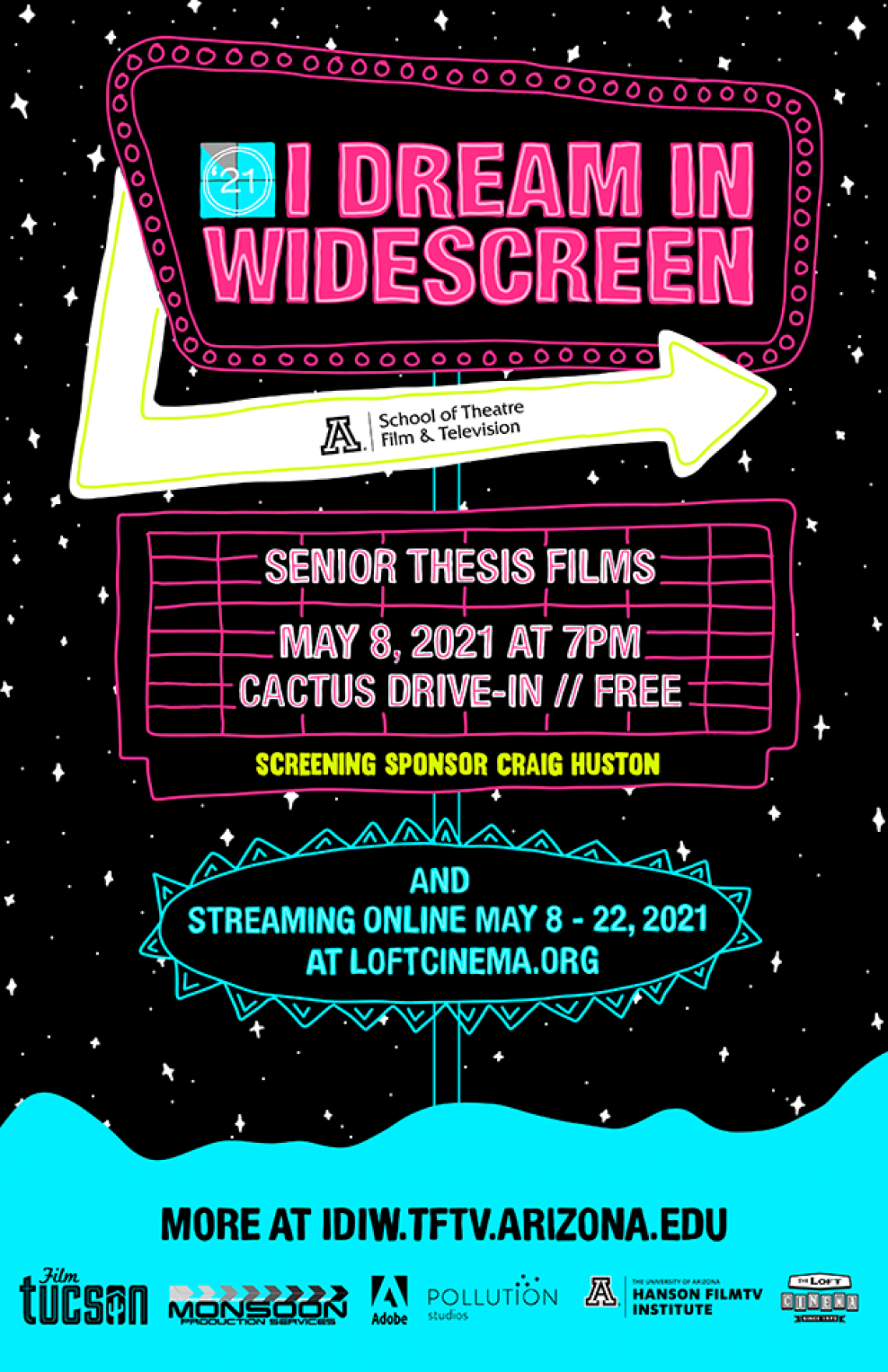 Poster for I Dream in Widescreen 2021 - Neon doodle drawn design, retro road sign with event informa